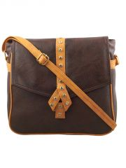 ESBEDA Dark Brown-Light Tan Solid Pu Synthetic Fabric Slingbag For Womens(Code-2555)