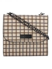 ESBEDA Beige Checkered PU Synthetic Slingbag For Women(Code-3413)