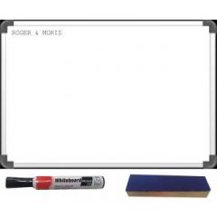 Combo Deal (White Board 2 Feet x 1.5 Feet, Branded Marker and Duster) By Roger & Moris