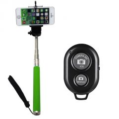 Monopod Extendable Selfie Stick With Bluetooth Remote Shutter - Green