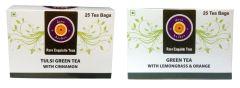 Tulsi Green Tea with Cinnamon Green Tea with Lemongrass &Orange 50 tea bags