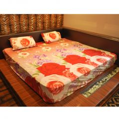 Czar 3D double bed sheet With 2 pillow covers- Orange