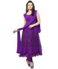 Deemark Charismatic Purple Long  Anarkali Semi Stitched  Suit