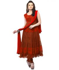 Deemark Lovely Red Designer Anarkali Semi Stitched Suit