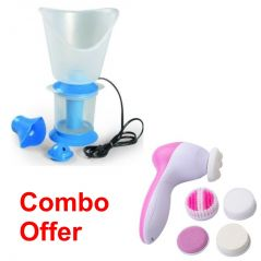 Deemark combo of Vaporizer with 5 in 1 beauty massager