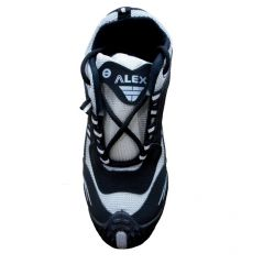 Shop or Gift Alex Sports Cool Air Black and White Running Shoes Online.