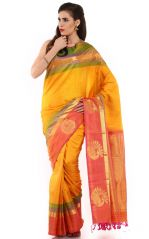 Silk Sarees - Sudarshan Silks Kanjeevaram Silk Designer Silk Saree in Yellow - (Code -ARS2)