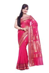 Sudarshan Silks SUDARSHAN NEW DESIGNER SILK COTTON SAREE-Pink-AS1364-VT-Silk Cotton