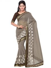 Indian Women Fashions Grey Color Georgette Designer Saree (Code - Inwga20007-Mm)
