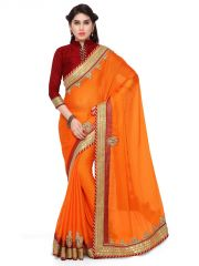 Indian Women Orange Color Moss Chiffon Saree (Code - Inwga20342-Mm)