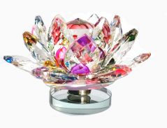 MULTI COLOR REVOLVING CRYSTAL LOTUS , FENGSHUI LOTUS FLOWER, KAMAL