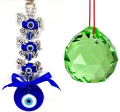 3 HORSE EVIL EYE HANGING & 40 MM GREEN CRYSTAL GLASS BALL FOR GOOD LUCK