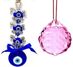 3 HORSE EVIL EYE HANGING & 40 MM PINK CRYSTAL GLASS BALL FOR GOOD LUCK