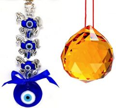 3 HORSE EVIL EYE HANGING & 40 MM YELLOW CRYSTAL GLASS BALL FOR GOOD LUCK