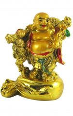 Laughing Buddha STANDING ON MONEY BAG FOR PROSPERITY & WEALTH