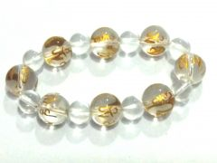 TIBETAN WHITE SYNTHETIC CRYSTALS OM MANI PADME HUM ENGRAVED STRETCH BRACELET