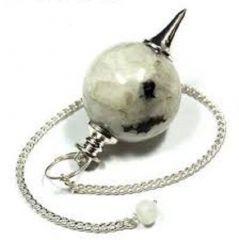 Rainbow Moonstone Crystal Ball Shape Dowser (Crystal Healing)