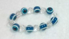 Blue Color Glass Bead Evil Eye Stretch Bracelet For Protection And Luck (9 Mm)