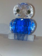 Feng Shui Glass Crystal Owl (Blue Color) Bird Figure (In Diamond Cut)