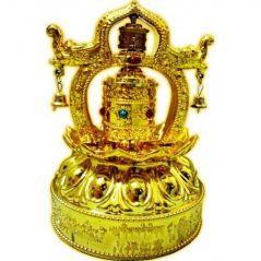 Buddhist Om Mani Lotus Prayer Wheel With Dragons (Solar) Solar Prayer Wheel