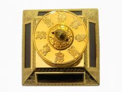 BUDDHIST OM MANI GOLDEN COLOUR 4 SOLAR CELL TIBETAN PRAYER WHEEL