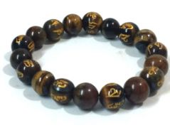TIBETAN OM MANI PADME HUM ENGRAVED TIGER EYE STONE STRETCH BRACELET