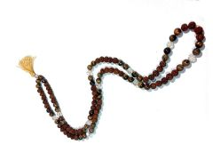 TIGER EYE AND RUDRAKSHA MALA / ROSARY ( CODE -  WW-J5JI-HJ7D )