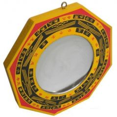Bagua Mirror (Wooden) (5X5 Inches) For Good Fortune Pakua Mirror Fengshui