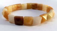 Yellow Agate Pyramid Shaped Bracelet (Crystal Healing) Gemini Zodiac Bracelet