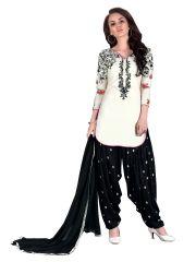 De Marca Cream Cotton Semi Stitch Dress Material (Product Code - 364-9009)
