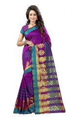 De Marca Purple Colour Tussar - Silk Saree (Product Code - 369-108)