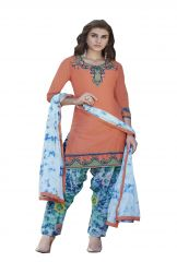 De Marca Orange Colour Cotton Semi Stitch Patiyala Dress Material (Code - De Marca 403-9009)