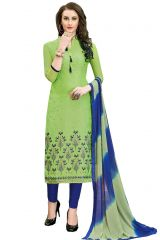 De Marca Green Chanderi Cotton Unstitched Dress Material (Code - 515-6013)