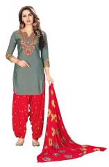 De Marca Grey Glaze Cotton Unstitched Patiyala Dress Material (Code - 518-8002)