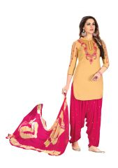 De Marca Beige Glaze Cotton Unstitched Patiyala Dress Material (Code - 518-8007)