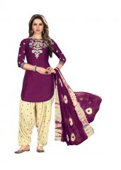 De Marca Purple Glaze Cotton Unstitched Patiyala Dress Material (Code - 518-8009)