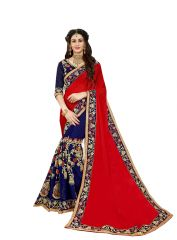 Demarca Red Blue Georgette Half & Half Saree (Code - 586-349)