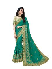 Demarca Green Georgette Saree (Code - 587-361)