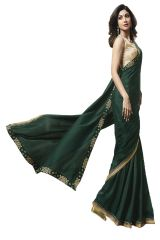 De Marca Dark Green Colour Banglori Silk Saree (Code - 609-2503)