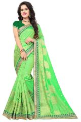 De Marca Light Green Silk-Jacquard Saree - ( Code - 682-10004A )