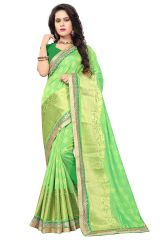 De Marca Light Green Silk-Jacquard Saree - ( Code - 682-10005D )