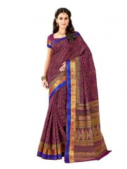 De Marca Purple Cotton Saree (Code - Cry6523)