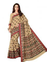 De Marca Beige Cotton Saree (Code - Cry6526)