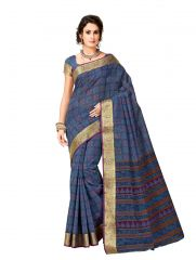 De Marca Blue Cotton Saree (Code - Cry6530)