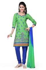 De Marca Cotton Green and Royal Blue Semi Stitched Salwar Kameez (Code - DM-101)