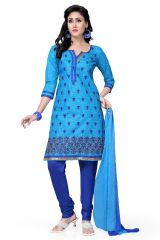 De Marca Cotton Sky Blue and Royal Blue Semi Stitched Salwar Kameez (Code - DM-108)