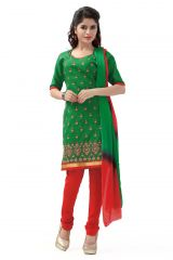 De Marca Cotton Green and Red Semi Stitched Salwar Kameez (Code - DM-117)
