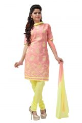 De Marca Cotton Peach and Yellow Semi Stitched Salwar Kameez (Code - DM-121)