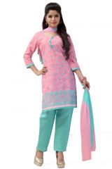 De Marca Cotton Pink and Sky Blue Semi Stitched Salwar Kameez (Code - DM-122)