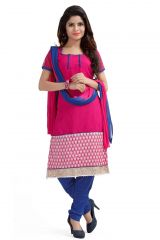 De Marca Royal Net Rani Pink and Blue Semi Stitched Salwar Kameez (Code - DM-126)